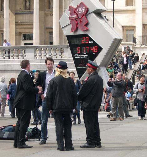 Journalist in Trafalgar Square being harassed by Heritage Wardens